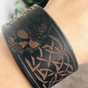 Jewelry - Hand Tooled Leather Skull Bracelet Cuff